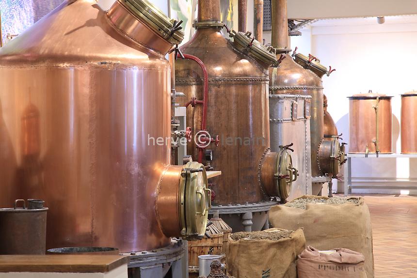 France, Alpes-Maritimes, Grasse, parfumerie Fragonard, dans l'usine historique, les alambics // France, Alpes-Maritimes, Grasse, Fragonard perfumery in the plant history, stills
