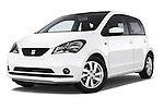 Stock pictures of low aggressive front three quarter view of a 2014 Seat MII Style 5 Door Hatchback 2WD Low Aggressive