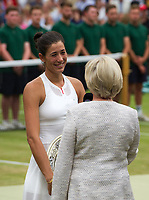 Garbine Muguruza (14) of Spain interviewed by Sue Barker after her victory over Venus Williams of United States in their Ladies' Singles Final today - Muguruza def Williams 7-5, 6-0<br /> <br /> Photographer Ashley Western/CameraSport<br /> <br /> Wimbledon Lawn Tennis Championships - Day 12 - Saturday 15th July 2017 -  All England Lawn Tennis and Croquet Club - Wimbledon - London - England<br /> <br /> World Copyright &not;&copy; 2017 CameraSport. All rights reserved. 43 Linden Ave. Countesthorpe. Leicester. England. LE8 5PG - Tel: +44 (0) 116 277 4147 - admin@camerasport.com - www.camerasport.com