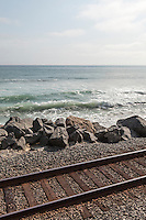 Amtrak's Surfliner runs alongside the beach at San Clemente, CA. Images are available for editorial licensing, either directly or through Gallery Stock. Some images are available for commercial licensing. Please contact lisa@lisacorsonphotography.com for more information.