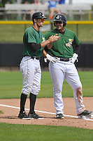 Clinton LumberKings Manager Mitch Canham (11) gives instructions to third base runner Alex Jackson (35) during the game against the Beloit Snappers at Ashford University Field on June 12, 2016 in Clinton, Iowa.  The LumberKings won 1-0.  (Dennis Hubbard/Four Seam Images)