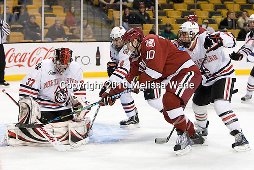 Chris Rawlings (NU - 37), Jim Driscoll (NU - 4), Eric Kroshus (Harvard - 10), ? - The Northeastern University Huskies defeated the Harvard University Crimson 4-1 (EN) on Monday, February 8, 2010, at the TD Garden in Boston, Massachusetts, in the 2010 Beanpot consolation game.