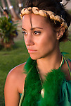 Hawaii: Molokai, young woman at protocol spiritual ceremonies at Kaupoa Beach..Photo himolo213-71995..Photo copyright Lee Foster, www.fostertravel.com, lee@fostertravel.com, 510-549-2202