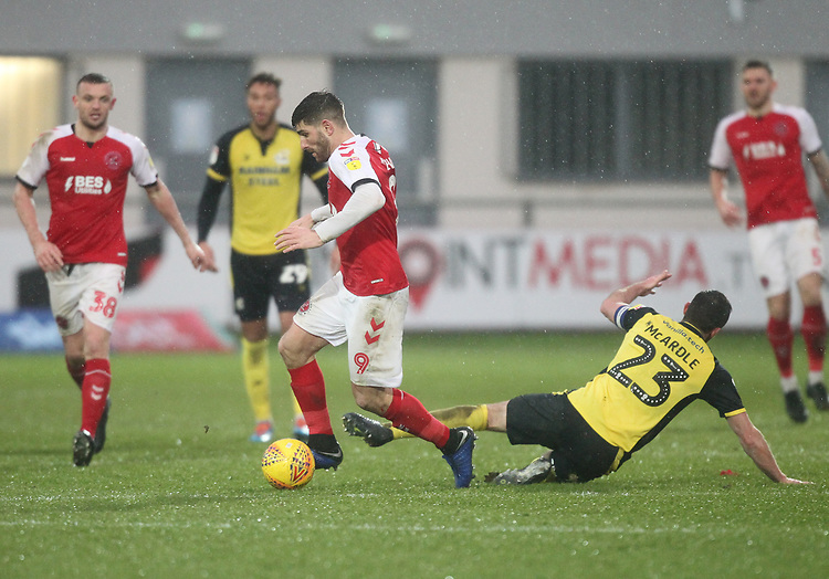 Fleetwood Town's Ched Evans battles with Scunthorpe Utd's Rory McArdle<br /> <br /> Photographer Mick Walker/CameraSport<br /> <br /> The EFL Sky Bet League One - Fleetwood Town v Scunthorpe United - Saturday 26th January 2019 - Highbury Stadium - Fleetwood<br /> <br /> World Copyright © 2019 CameraSport. All rights reserved. 43 Linden Ave. Countesthorpe. Leicester. England. LE8 5PG - Tel: +44 (0) 116 277 4147 - admin@camerasport.com - www.camerasport.com