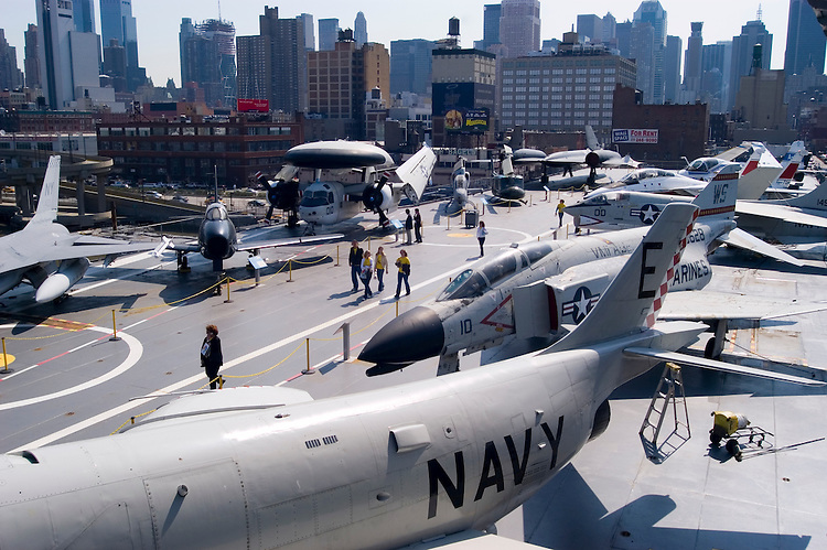 New York City, New York:  Intrepid aircraft carrier as air, sea, and space museum.  Aircraft on deck  .Photo #: ny308-15143  .Photo copyright Lee Foster, www.fostertravel.com, lee@fostertravel.com, 510-549-2202.