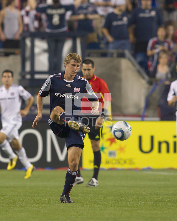 New England Revolution midfielder Jason Griffiths (16) passes the ball. The Chicago Fire defeated the New England Revolution, 1-0, at Gillette Stadium on June 27, 2010.