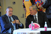 Sir Colin Meads and Sir Brian Lochore during the Pink Batts Heartland Championship 2013 season launch at Waikanae RFC, Waikanae, New Zealand on Tuesday, 13 August 2013. Photo: Dave Lintott / lintottphoto.co.nz