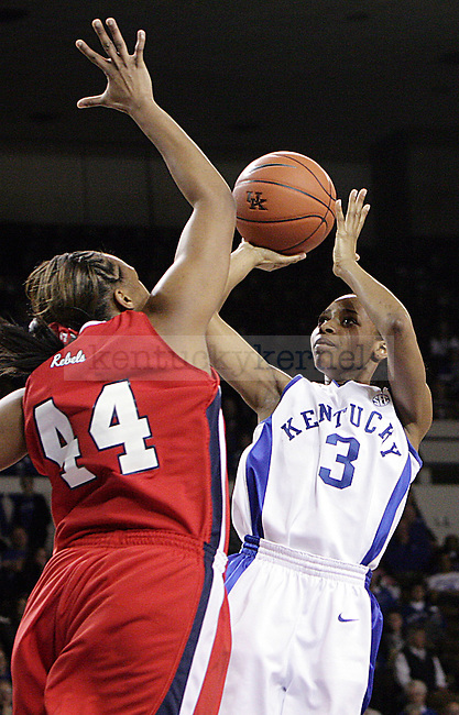 Sophomore guard Crystal Riley takes a shot in the first half of UK's game against Ole Miss on Thursday evening. Photo by William Baldon | Staff