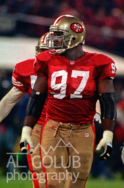 San Francisco 49ers vs. Minnesota Vikings at Candlestick Park Monday, December 18, 1995.  49ers beat Vikings  37-30.  San Francisco 49ers defensive tackle Bryant Young (97).