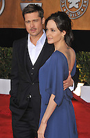 20 September 2016 - Los Angeles, CA - Angelina Jolie Pitt has filed for divorce from Brad Pitt. Jolie Pitt, 41, filed legal docs Monday citing irreconcilable differences. Jolie Pitt requested physical custody of the couple's shared six children – Maddox, Pax, Zahara, Shiloh, Vivienne, and Knox – asking for Pitt to be granted visitation, citing legal documents. File Photo: 25 January 2009 - Los Angeles, California - 15th Annual Screen Actors Guild Awards held at the Shrine Auditorium. Photo Credit: Jaguar/AdMedia