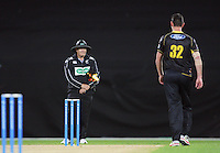 Shaun Tait walks back after taking the wicket of Dusan Hakaraia during the HRV Cup Twenty20 cricket match between Wellington Firebirds and Auckland Aces at Westpac Stadium, Wellington, New Zealand on Friday, 16 November 2012. Photo: Dave Lintott / lintottphoto.co.nz