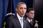 United States President Barack Obama delivers a statement on the counter-ISIL campaign in the Pentagon briefing room December 14, 2015 in Arlington, Virginia. President Obama met previously with a National Security Council on the counter-ISIL campaign. <br /> Credit: Olivier Douliery / Pool via CNP