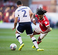 Armand Traore of Nottingham Forest is bought down by Conor McLaughlin of Millwall during the Sky Bet Championship match between Nottingham Forest and Millwall at the City Ground, Nottingham, England on 4 August 2017. Photo by James Williamson / PRiME Media Images.