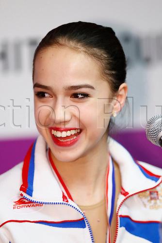 09.12.2016. Palais Omnisports, Marseille, France. ISU Junior Figure Skating Grand Prix Final.  Alina Zagitova (RUS) during the medal ceremony.