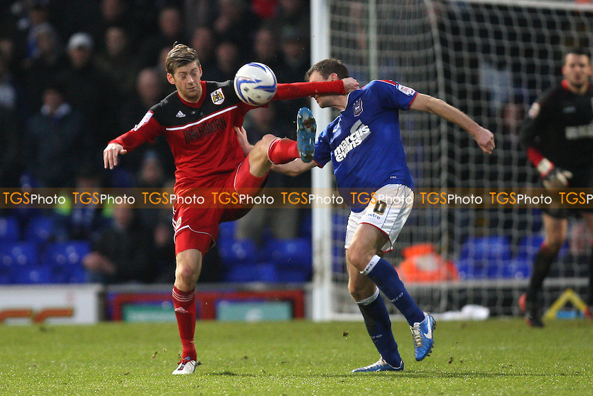 Jonathan Stead of Bristol City and Tommy Smith of Ipswich Town - Ipswich Town vs Bristol City - NPower Championship Football at Portman Road, Ipswich, Suffolk - 22/12/12 - MANDATORY CREDIT: Gavin Ellis/TGSPHOTO - Self billing applies where appropriate - 0845 094 6026 - contact@tgsphoto.co.uk - NO UNPAID USE.