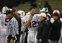 Oct 30, 20010:  Stanford quarterback #12 Andrew Luck was all smiles on the sidelines against Washington.  Stanford defeated Washington 41-0 at Husky Stadium in Seattle, Washington...