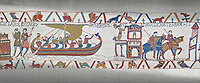Bayeux Tapestry scene 23 : Having sworn fealty to Duke William Harold sails back to England.