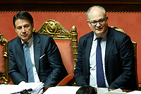 Giuseppe Conte and Roberto Gualtieri Minister of Economy <br /> Rome December 12th 2019. Speech of the Italian Premier about MES, European Stability Mechanism.<br /> Foto Samantha Zucchi Insidefoto