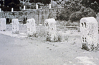Bollards for the capstan vertical winch system, located outside the Colosseum, Rome, Italy. Used to raise cages of live animals into the arena.