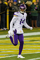 Minnesota Vikings wide receiver Stefon Diggs (14) during a National Football League game against the Green Bay Packers on December 23rd, 2017 at Lambeau Field in Green Bay, Wisconsin. Minnesota defeated Green Bay 16-0. (Brad Krause/Krause Sports Photography)