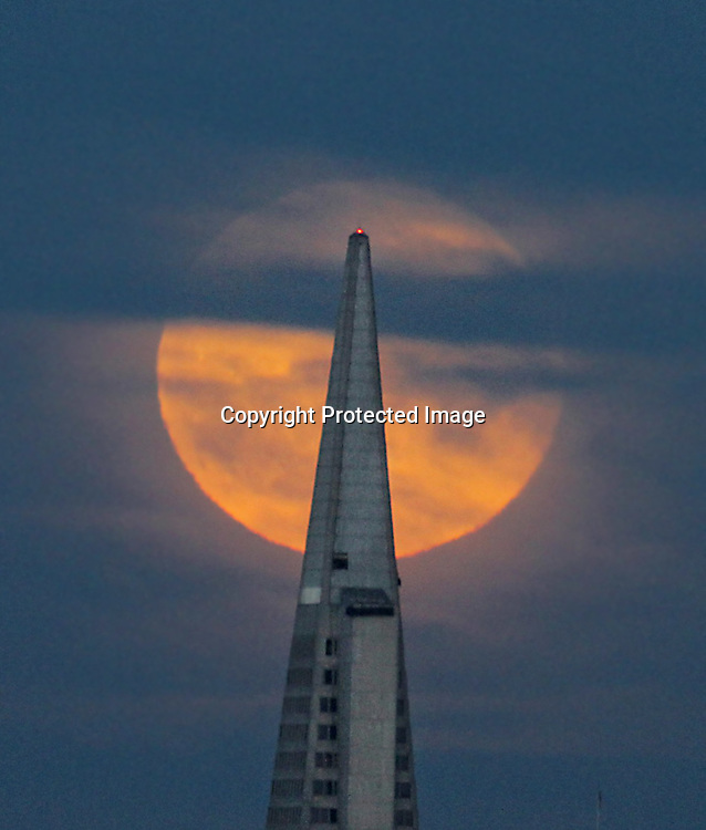 The August full moon rose over the Transamerican Pyramid as seem from the Presido.