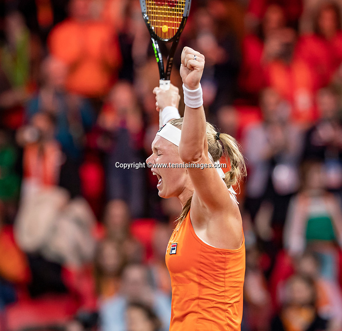 The Hague, The Netherlands, Februari 8, 2020,    Sportcampus, FedCup  Netherlands -  Balarus, First match on Saturday:  Kiki Bertens (NED) in jubilatio she puts Netherlands in a 2-1 lead<br /> Photo: Tennisimages/Henk Koster