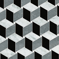 Pinwheel, a waterjet stone mosaic, shown in polished Thassos, Bardiglio, Carrara, and Nero Marquina, is part of the Semplice™ collection for New Ravenna.