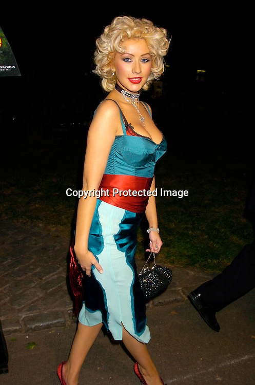 "Christina Aguilera ..at the New York Premier of ""Shark Tale"" on September 27. 2004 at the Delacorte Theatre in Central Park. ..Photo by Robin Platzer, Twin Images"
