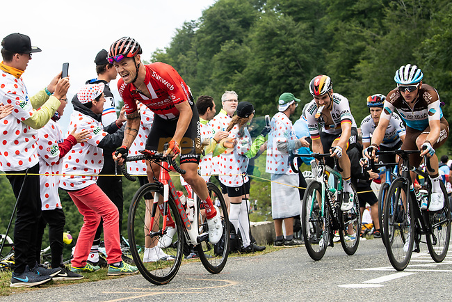 Nicolas Roche (IRL) Team Sunweb from the breakaway climbs Horquette d'Ancizan during Stage 12 of the 2019 Tour de France running 209.5km from Toulouse to Bagneres-de-Bigorre, France. 18th July 2019.<br /> Picture: ASO/Alex Broadway   Cyclefile<br /> All photos usage must carry mandatory copyright credit (© Cyclefile   ASO/Alex Broadway)