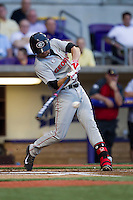 Georgia Bulldogs third baseman Hunter Cole #6 swings the bat during the Southeastern Conference baseball game against the LSU Tigers on March 22, 2014 at Alex Box Stadium in Baton Rouge, La. The Tigers defeated the Bulldogs 2-1. (Andrew Woolley/Four Seam Images)