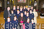 A great day on Friday in St John's Church, Tralee, for Fr Michael Moynihan and Louise Hanlon (Teacher) as the pupils from Blennerville National School were confirmed by Bishop Bill Murphy. Front row l-r: Lisa Deady, Hazel Flynn, Jackie Daughton and Siobhan O'Connor. Middle row l-r: Dara Harkin, Nathan Caldwell, Almha Foley, Claire and Christina Sugrue. Back row l-r: Gearoid Clifford, Donnachadh Murphy, Eric O'Shea, Cian Dowling, Daniel Horgan and Adam Kelly..