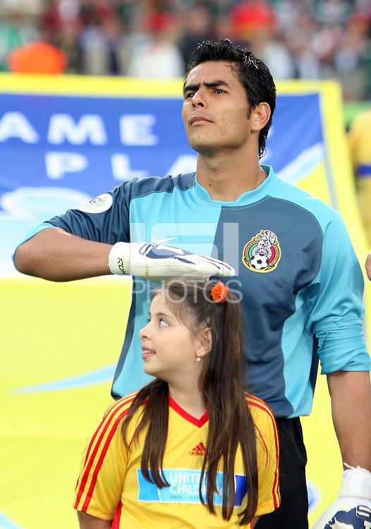 Mexico goalkeeper Oswaldo Sanchez at the national anthem. Mexico and Angola played to a 0-0 tie in their FIFA World Cup Group D match at FIFA World Cup Stadium, Hanover, Germany, June 16, 2006.