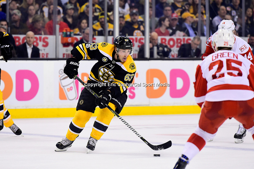 Wednesday, March 8, 2017: Boston Bruins left wing Brad Marchand (63) plays the puck during the National Hockey League game between the Detroit Red Wings and the Boston Bruins held at TD Garden, in Boston, Mass.  Boston defeats Detroit 6-1 in regulation time. Eric Canha/CSM