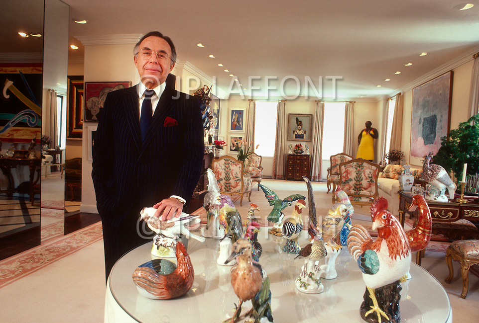 New York City, NY, USA, March 4, 1987 - Edward Downe Jr with some of his art collection in his Park Avenue apartment.
