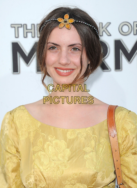 "Zoe Bleu Sidel.""The Book of Mormon"" Hollywood Opening night Held At The Pantages theatre, Hollywood, California, USA..September 12th, 2012.headshot portrait flower yellow gold headband.CAP/DVS.©DVS/Capital Pictures."