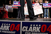 Tuscon, Arizona.USA.January 30, 2004..General Wesley Clark back stage moments before and after his speech, and addressing a crowd at a rally as he campaigns for the democratic nomination for US president.
