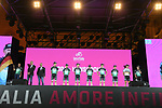 Bora-Hansgrohe on stage at the Teams Presentation held in Piazza Maggiore Bologna before the start of the 2019 Giro d'Italia, Bologna, Italy. 9th May 2019.<br /> Picture: Fabio Ferrari/LaPresse | Cyclefile<br /> <br /> All photos usage must carry mandatory copyright credit (&copy; Cyclefile | Fabio Ferrari/LaPresse)