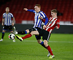 David Bates of Sheffield Wednesday and Ash Baker of Sheffield Utd  the Professional Development League match at Bramall Lane, Sheffield. Picture date: 26th November 2019. Picture credit should read: Simon Bellis/Sportimage