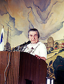 Prime Minister Golda Meir of Israel makes remarks in the United Stats Capitol in Washington, DC on September 18, 1970.<br /> Credit: Arnie Sachs / CNP