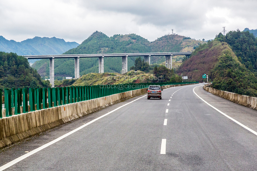 Guizhou, China.  Approaching Intersection of Two Highways near Kaili.