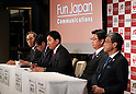 October 17, 2016, Tokyo, Japan - (L-R) Japan Airlines executive officer Jun Kato, Nippon Express president Kenji Watanabe, Fun Japan Communications president Daisuke Fujii, JTB president Hiroyuki Takahashi and Mitsukoshi-Isetan Holdings president Hiroshi Onishi speak at a press conference to form a new company Fun Japan Communications in Tokyo on Monday, October 17, 2016. Fun Japan Communications is the digital marketing company for tourists mainly target of Taiwan and ASEAN countries.   (Photo by Yoshio Tsunoda/AFLO) LWX -ytd-