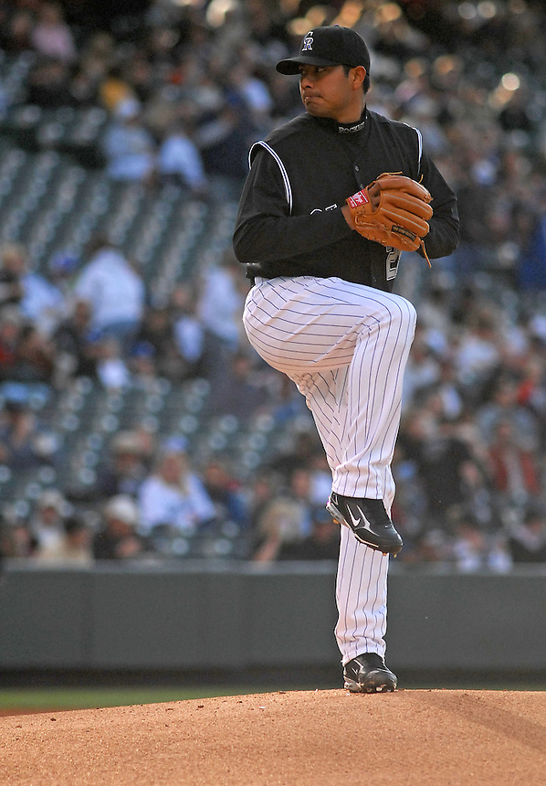 03 May, 2008: Rockies starting pitcher Jorge De la Rosa during a game against the Los Angeles Dodgers at Coors Field in denver, Colorado.