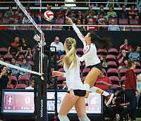 STANFORD, CA - October 12, 2018: Payton Chang at Maples Pavilion. No. 2 Stanford Cardinal swept No. 21 Washington State Cougars, 25-15, 30-28, 25-12.