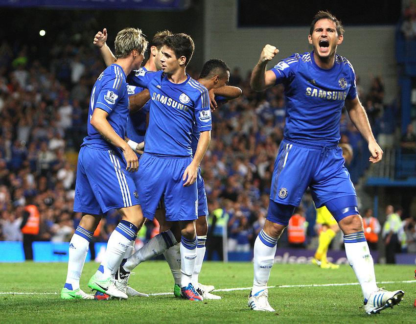 Chelsea's Fernando Torres celebrates scoring his sides second goal 2-2..Football - Barclays Premiership - Chelsea v Reading - Wednesday 22nd August 2012 - Stamford Bridge - London..