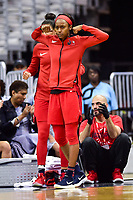 Washington, DC - June 15, 2018: Washington Mystics guard Shatori Walker-Kimbrough (32) celebrates a three point basket during game between the Washington Mystics and Los Angeles Sparks at the Capital One Arena in Washington, DC. (Photo by Phil Peters/Media Images International)