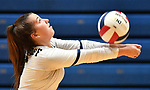 Althoff player Claire Franke bumps the ball. Althoff lost to Minooka in the championship game of the O'Fallon Class 4A volleyball sectional at O'Fallon HS in O'Fallon, IL on November 6, 2019.<br /> Tim Vizer/Special to STLhighschoolsports.com