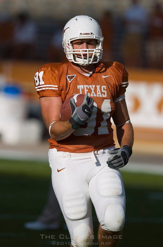 30 September 2006: Texas tight end Britt Mitchell warms up prior to the Longhorns 56-3 victory over the Sam Houston State Bearkats at Darrell K Royal Memorial Stadium in Austin, TX.