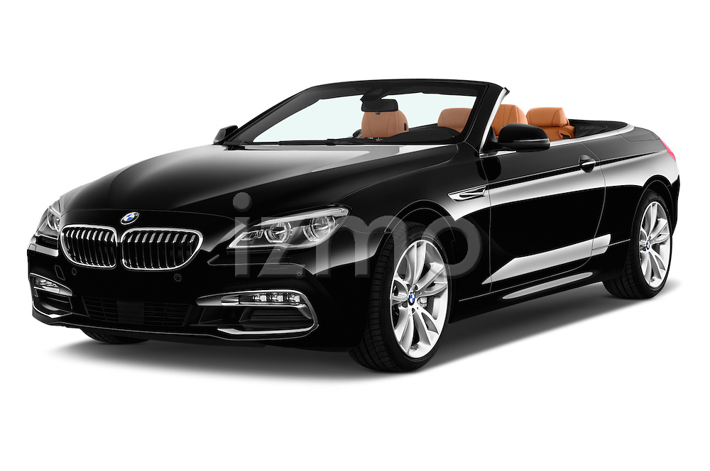 2015 BMW 6 Series 640i 2 Door Convertible Angular Front stock photos of front three quarter view