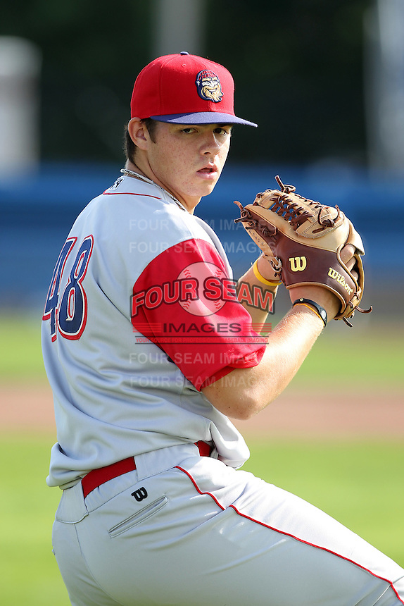 Williamsport Crosscutters pitcher Jesse Biddle (48), Phillies 1st round draft choice, before the first game of a double header vs. the Batavia Muckdogs at Dwyer Stadium in Batavia, New York;  August 25, 2010.   Batavia defeated Williamsport 4-3.  Photo By Mike Janes/Four Seam Images