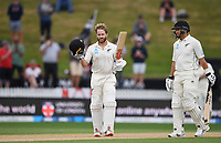 3rd December, Hamilton, New Zealand;  New Zealand captain Kane Williamson celebrates his century during play day 5 of the 2nd test cricket match between New Zealand and England at Seddon Park, Hamilton, New Zealand.